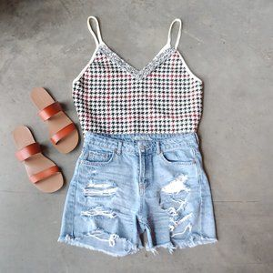 Zara Houndstooth Contrast Camisole Tank large